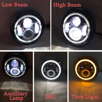 Weatherproof Low Power Consumption Long Lasting 2 Pcs 7 Inch Round LED Headlights Halo Angle Eyes