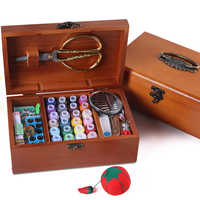 DIY Wood Sewing Box Sewing Kit Needle Tape Scissor Wooden Storage Box Case Exquisite Gift Sewing Kits Tool For Home & Travelling