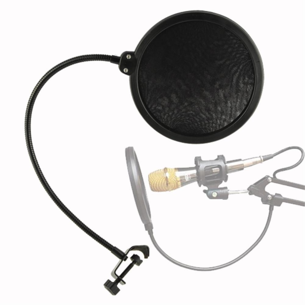 Studio Mikrofon Pop Filter Singen Windschutzscheibe Schild Pod Cast Dual Doppelschicht Anti Mic Metall Studio Pop Filter