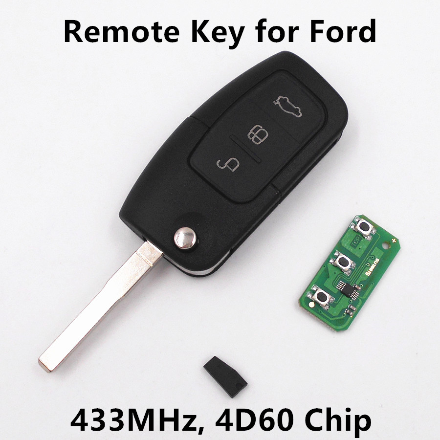 For ford c max s max focus mondeo fiesta kuga galaxy 3 buttons 433mhz with 4d60