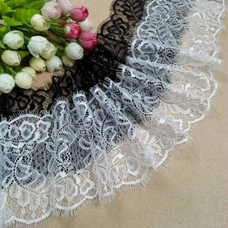 3yards/lot Embrodiary Flower Lace Fabric Eyelash Lace Trim Fabric For Sewing Bridal Wedding Dress Crafts