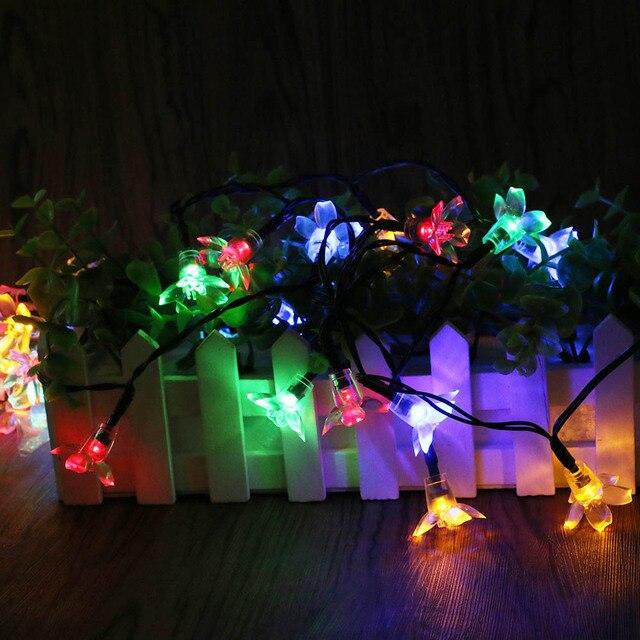 Solar Power Fairy String Lights 50 LED Peach Blossom Decorative Garden Lawn Patio  Christmas Trees Wedding