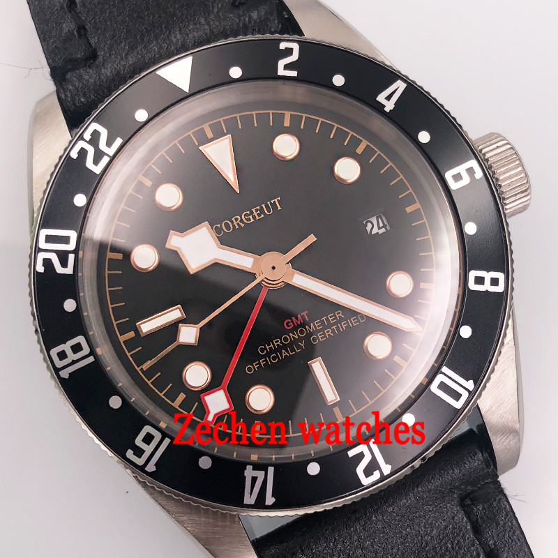 41mm Corgeut black dial sapphire glass GMT date window automatic mens wrist watch luminous hands watch 41mm corgeut black dial sapphire glass miyota automatic movement mens watch c03