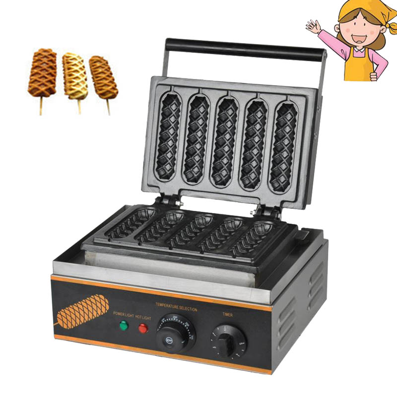 Electric French Hot Dog Waffle Maker Baker Machine 110V 220V Commercial Use Electric Lolly Waffle Makers Machine FY-117 free shipping 6pcs commercial nonstick 110v 220v electric digital 22cm lolly waffle dog on a stick machine maker iron baker