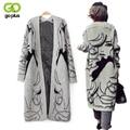 Goplus casacos femininos 2017 outono inverno moda das mulheres poncho camisola de malha casaco cardigan longo gilet femme manche longue