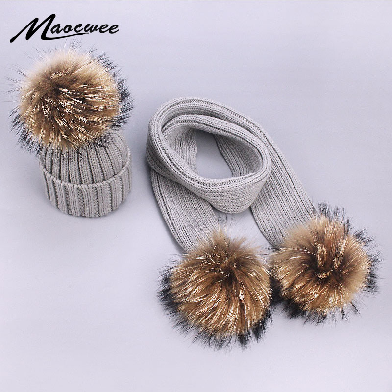 Children Women Pompom Hat Winter Warm Parent-Child Knitted Hat Scarf Set Solid Gray White Black Beanies Hats Nature Fur Pompon