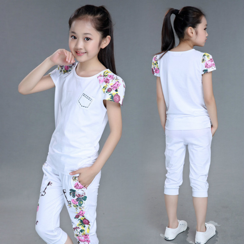 Teenage Girls 2017 Summer Sports Suits Children Hip Hop Clothing Set White Black Outfits Short Sleeve T- Shirt+Pant 2 pcs/sets