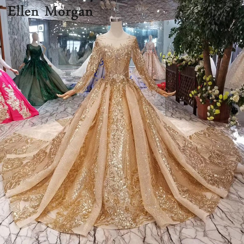 Gold Ball Gowns Wedding Dresses 2019 Boat Neck Lace Up Pattern Chapel Train Saudi Arabia Elegant Long Sleeves Bridal Gowns