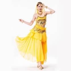Женский Болливуд танцевальная одежда 4 шт. костюм набор головной убор со стразами, топ на бретелях, Монета Пояс и юбка индийские костюмы для