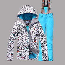 Ski Suit Women Skiing Hiking Camping Warm Clothing Gsou Snow Band Ski Jacket+Pant Windproof Waterproof Leopard Female Suit Set