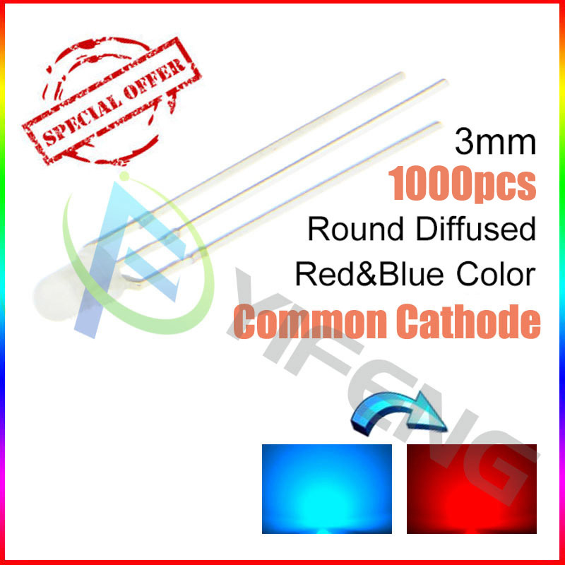 New! (1000PCS/lot )3MM red and blue color red and blue Common cathode mist frosted LED light-emitting diode astigmatism