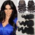 8а класс 100% девственницы бразильские волос волна закрытия шнурка бесплатная ближний 3 часть закрытие отбеленными узлами 4 * 4 мягкого кружева человека