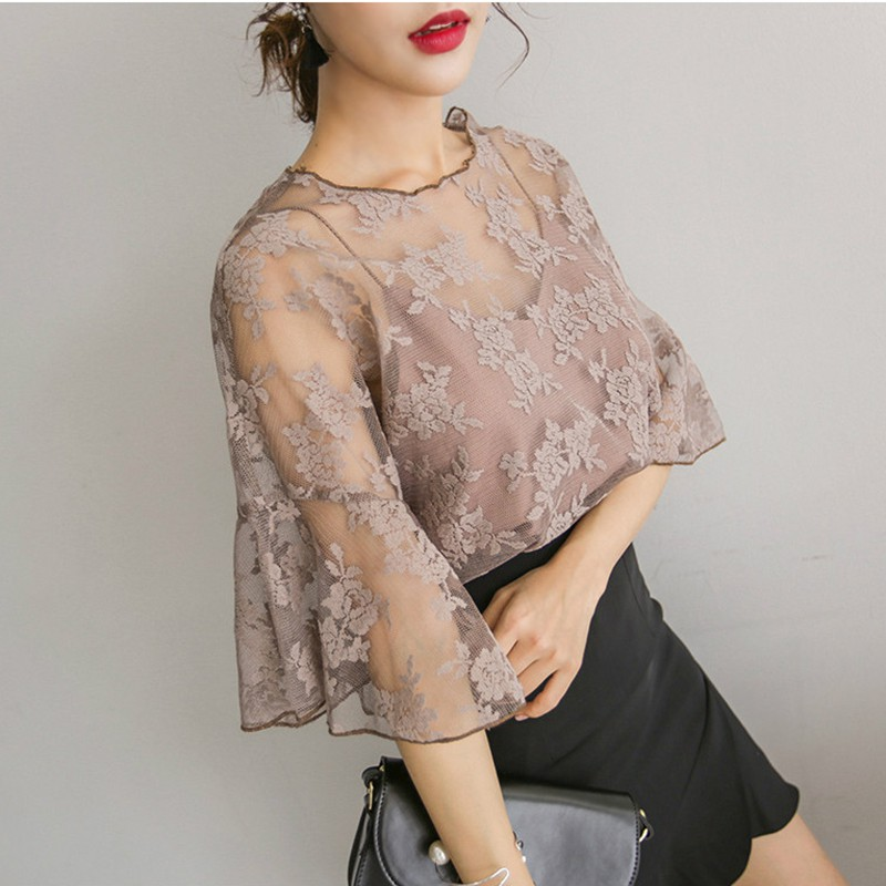 Women Transparent   Shirts   Lace   Blouse     Shirt   Elegant Flare Sleeve Half Sleeve Sexy Casual Stand Chiffon White Tops