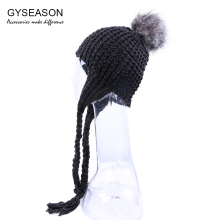 цена на Faux Fur Pompon Ball Hat For Women With Long Ear Flaps Twisted Flower Acrylic Lovely Girl's Cap Knitted Female Winter Warm Hats
