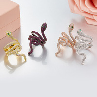 Luxury Micro inserts Zircon Snake ring Full of zircon stones cz exaggerated Ring 925 sterling silver France monaco jewelry