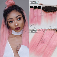 Guanyuhair #1B/Pink Ombre 3 Bundles With Lace Frontal Closure 13X4 Ear to Ear Peruvian Straight Human Hair Weave with Dark Roots