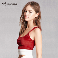 Missomo Red Blue Bra Women Backless Wire Free Casual Elastic Patchwork Bralettes Female Elegant Soft Underwears Lady