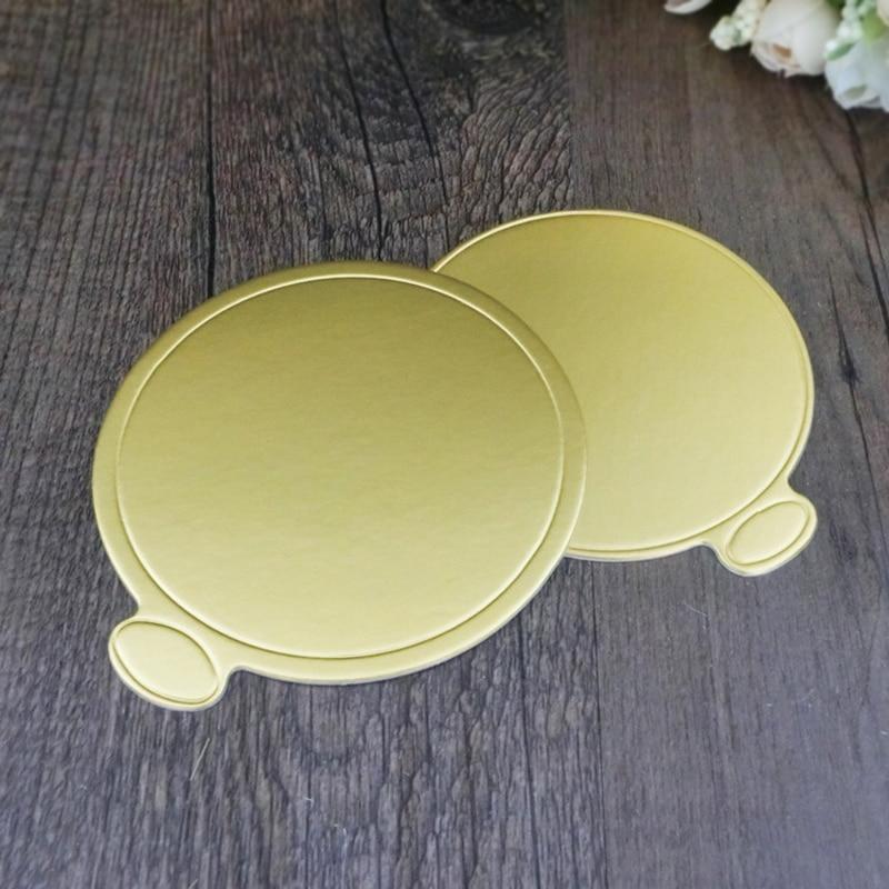 100pcs Gold Round Mousse Cake Boards Paper 100pcs/Set Cupcake ...