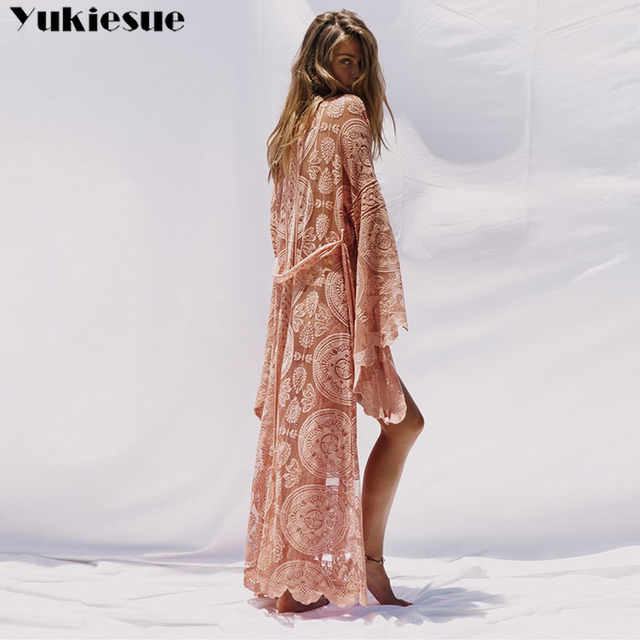 2019 Fashion Women Plus Size Long Sleeve Perspective Lace Long Cardigan Kimono Beach Swimsuit Cover up pink red Overall 6