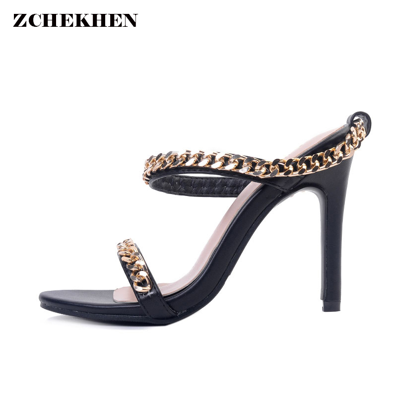 Sexy Metal Chain High Heels Sandals Thin Heels mules Women Sandals Summer Party Shoes Lace-Up Wedding Shoes padegao 2017 new fashion high heels women sandals sexy decorated with metal chain wear convenient cool slippers shoes women shoe