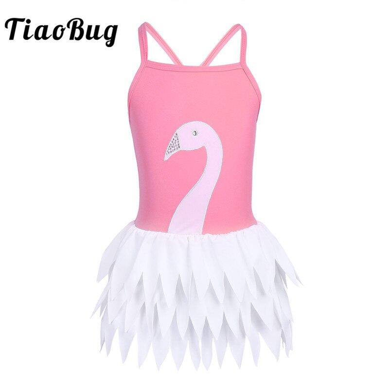 TiaoBug Kids One-piece Spaghetti Straps Swan Ruffles Swimsuit Swimwear Children Girls Beachwear Swimming Bodysuit Bathing Suit