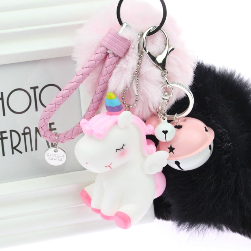 PINXIU Rainbow PVC Animal Unicorn Fur Keychain For Men Women Bag Ornament Phone Key Chain Porte Clef Keyring Bag Decoration