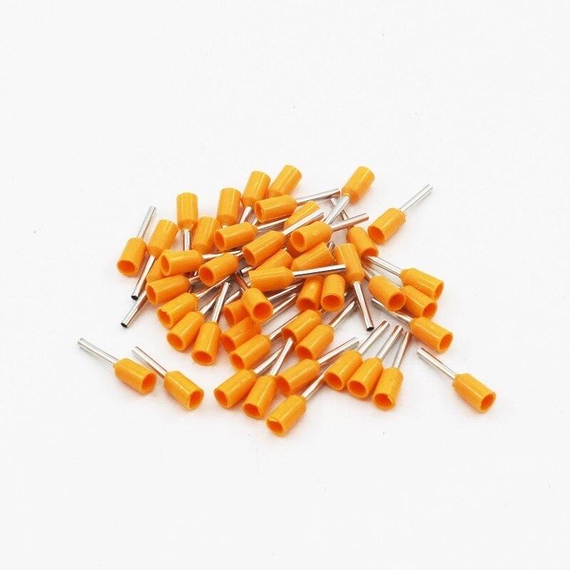 100 шт./упак. E0508 E7508 E1008 E1508 E2508 изолированных кабельных наконечников клеммной колодки конец шнура Разъем провода электрические обжимной Терминатор - Цвет: Оранжевый