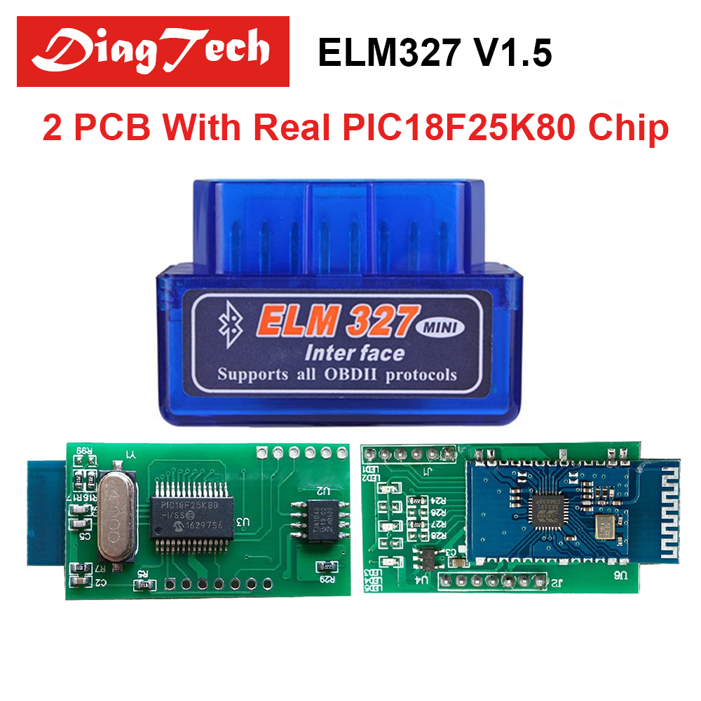 Super Mini ELM327 V1.5 Bluetooth With Real 25K80 Chip Diagnostic Tool ELM 327 OBD2 Elm-327 OBDII Adapter Works on Android Torque адаптер elm 327 bluetooth