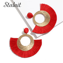 Vintage Gold Color Sector Tassel Earrings For Women Carved Ribbon Drop Wedding Party Jewelry