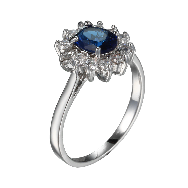 simple fashion wedding rings luxury blue zircon crystal flower shape rings for women silver plated ring large size 678910 - Large Wedding Rings
