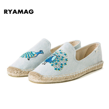 2017 Women's Esapdrilles Casual flat Shoes Breathable Flax Hemp Canvas espadrilles Slip-on Cotton sewing shoes flamingo loafers