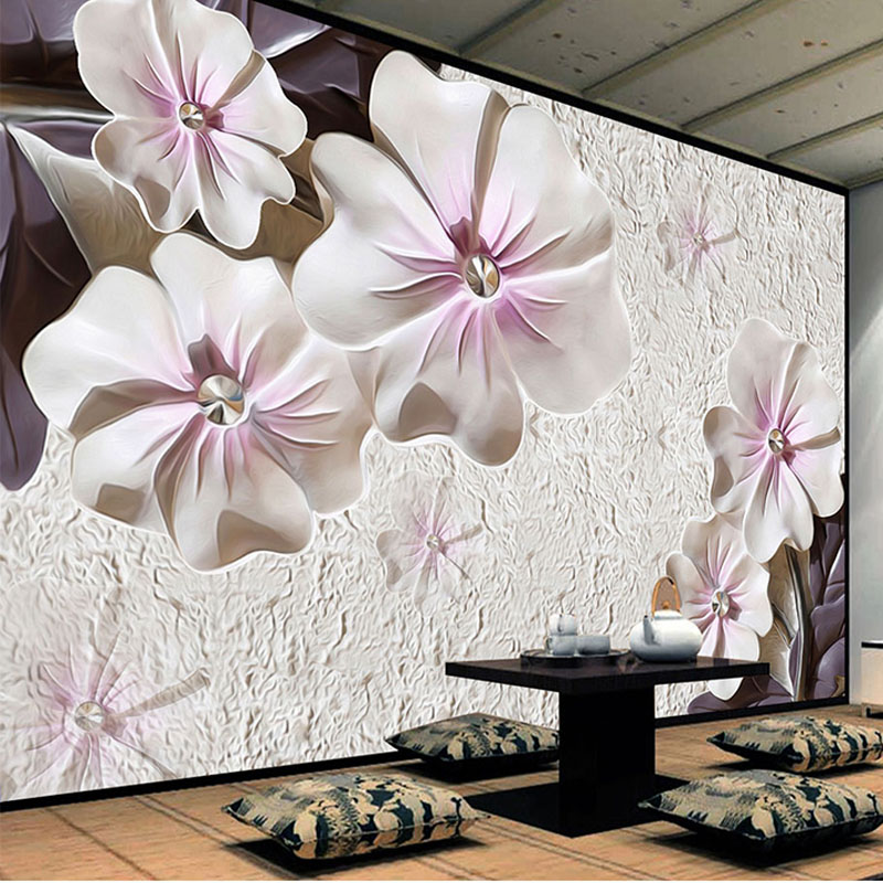 3D Stereoscopic Flowers Jewelry Photo Mural Wallpaper Living Room Bedroom Backdrop Wall Decor Classic Non-Woven Mural Wallpapers