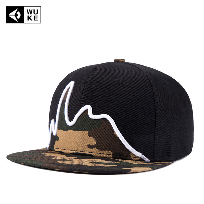 [WUKE] Brand New Fashion Men's Black Snapback Hip Hop   Cap   Flat Hat Camouflag Outdoor   Baseball     Caps   Free Shipping