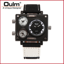 Men s Watches Top Luxury Brand Oulm 3595 Unique Designer Watches Fashion Leather Strap Japan Movt