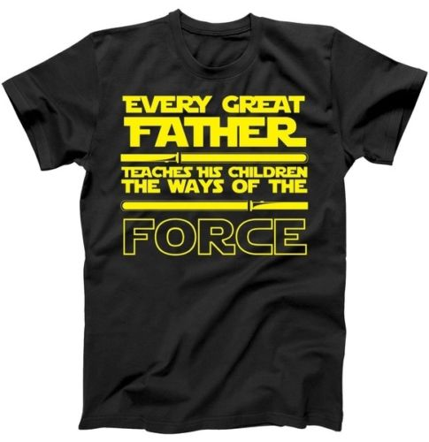 Father Teaches The Ways Of The Force T-Shirt Gift for Fathers Day Shirt MenS O-Neck Printed Tee Shirt