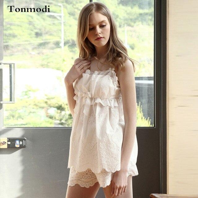 2ad0fb2339 Sexy Encaje blanco pijamas mujeres con almohadilla de pecho ropa de dormir  algodón Pantalones cortos Pijama