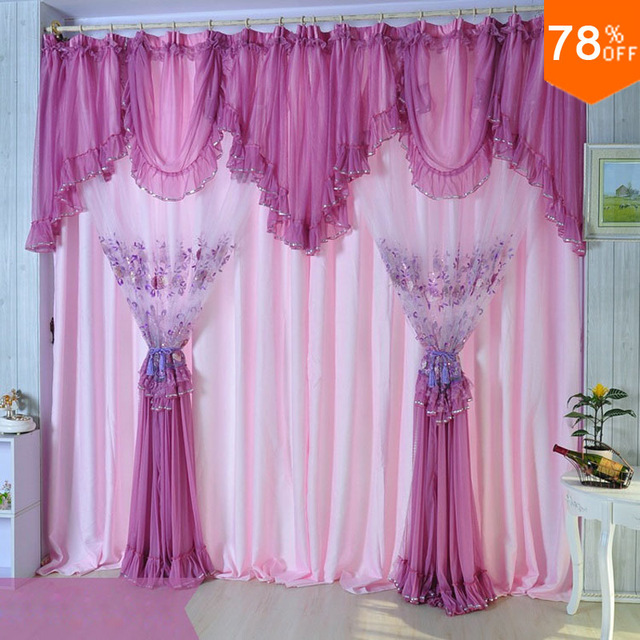 Pink Quality Embroidered Lace Curtain Purple Window Finished Screening Dodechedron Belt Product Violet Curtains