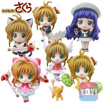 цена на Anime Card Captor Sakura Mini Figures Kinomoto Sakura Daidouji Tomoyo PVC Action Figures Toys Cardcaptor 1pc send in randomly
