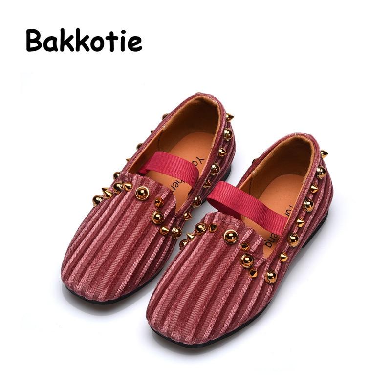 Bakkotie 2018 New Autumn Fashion Baby Girl Fur Flats Children Rivet Pink Shoe Kid Brand Leisure Shoes Soft Sweet Loafer