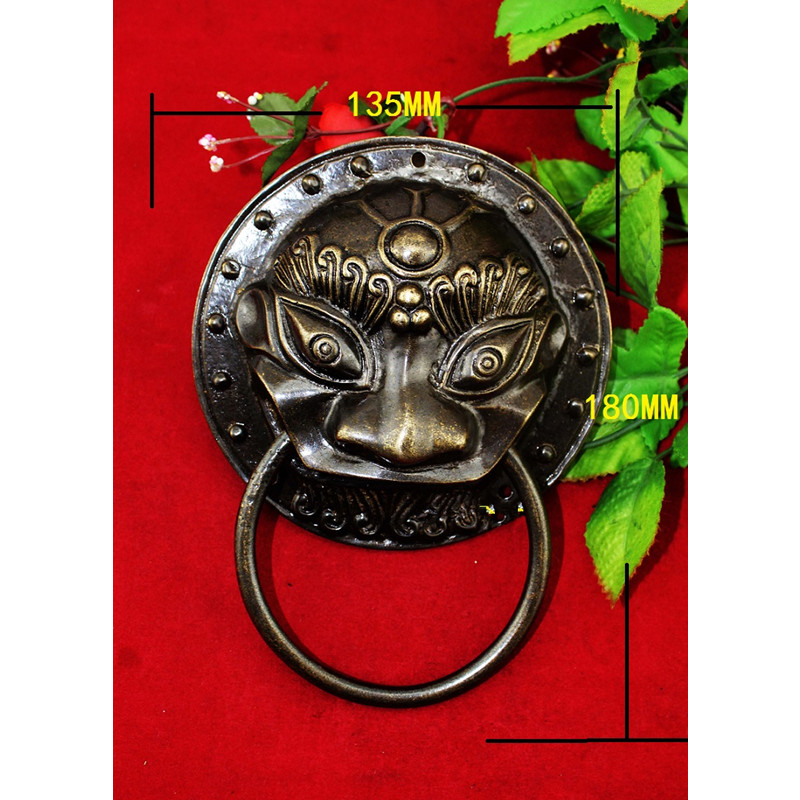 Bronze Color Brass Chinese Vintage Animal Beast Head Furniture Door Pull Handle,135*180mm,1PC european modern bronze doors handle chinese antique glass door handle door handle carving