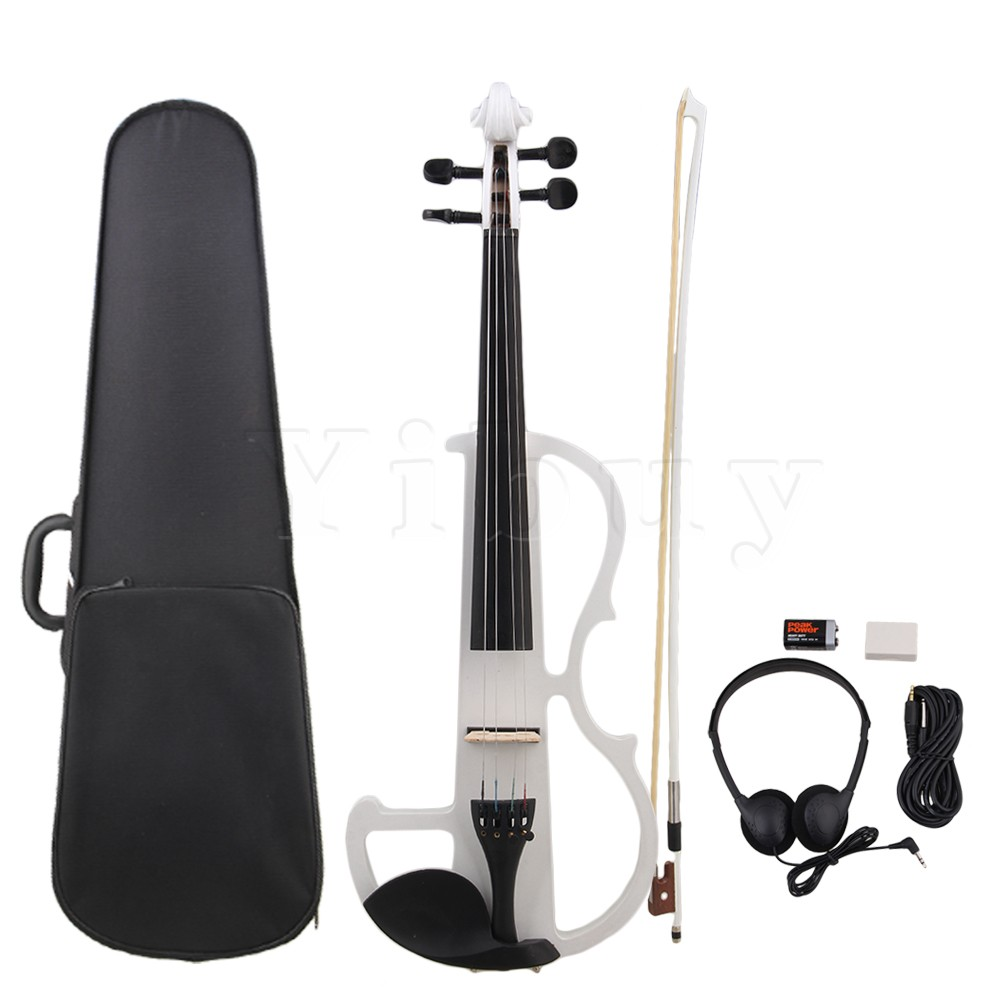 Yibuy Style E White Loaded Pickup 4/4 Electric Violin w/ Case Cable Headphone