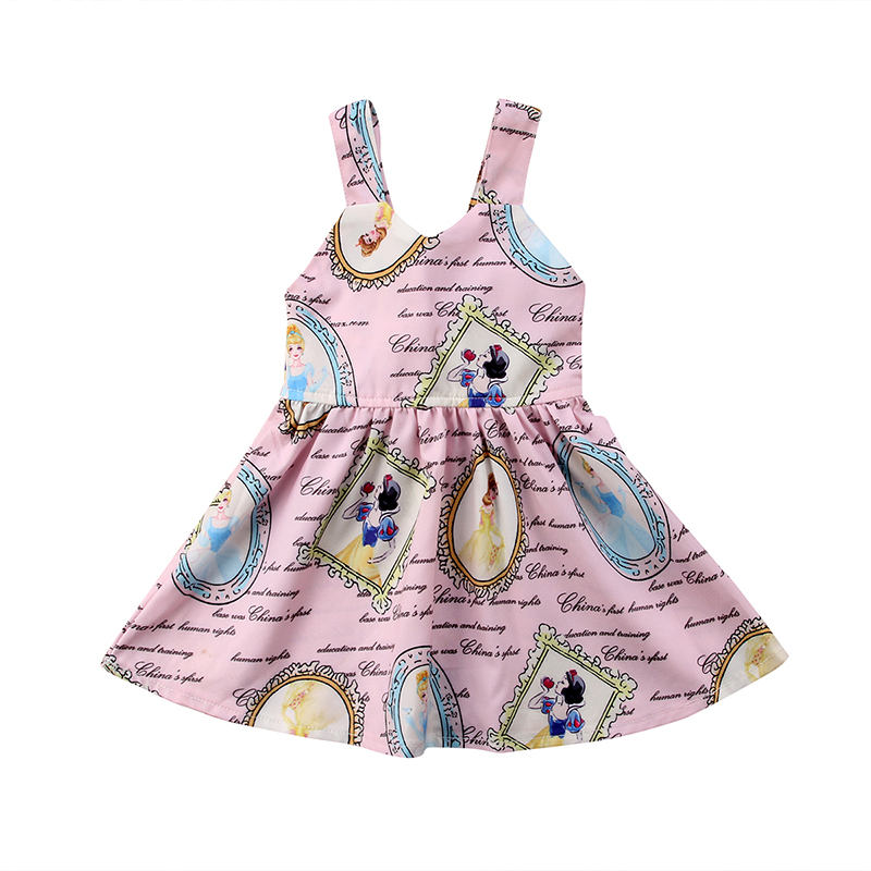 Princess Newborn Toddler Baby Girl Dress Sleeveless V-neck Snow White Cartoon Formal Pageant Party Dresses Clothes 0-3Y super fuchsia baby flower girl dresses sleeveless v neck baby christmas dress ruffles toddler thanksgiving dress