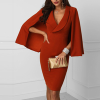 Women Plunge Cape Design Bodycon Dress Streetwear Sheath Solid Color Three Quarter Above Knee Mini Cloak Sleeves Party Dress