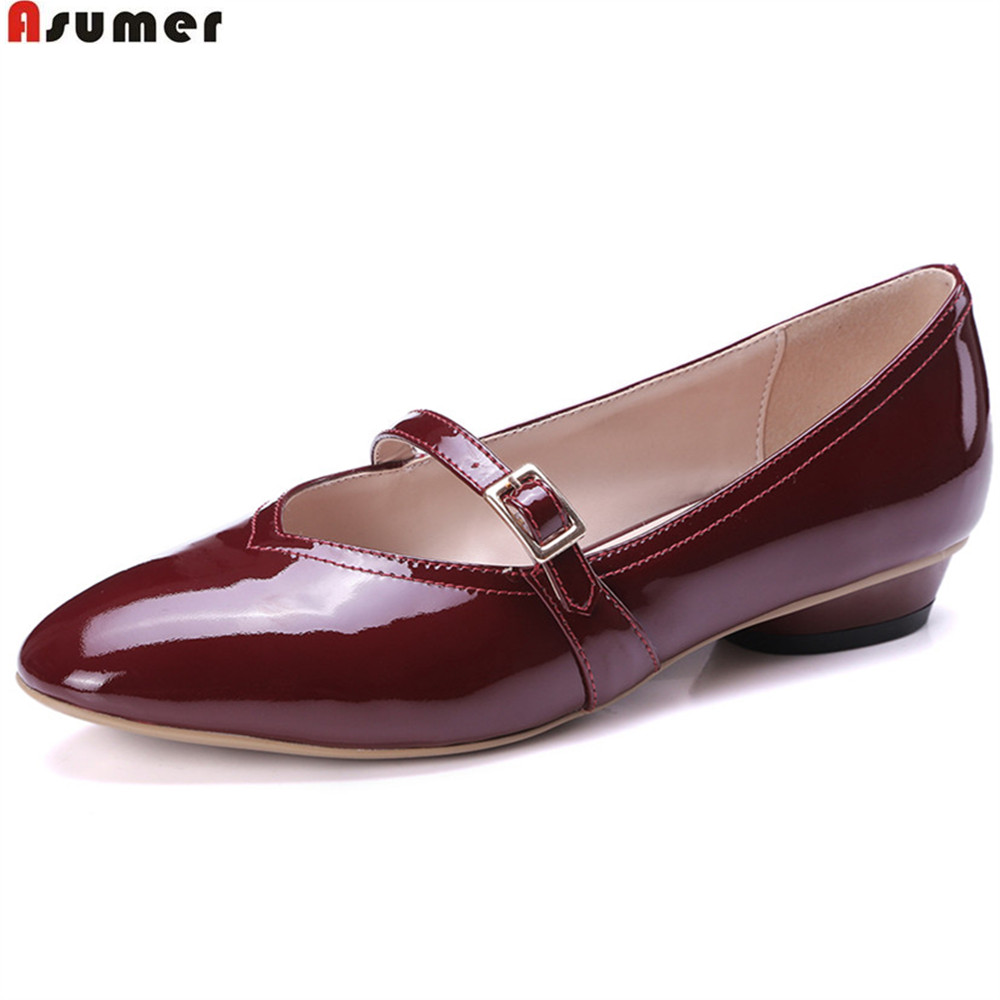 Asumer black wine red fashion women pumps buckle round toe cow patent leather shoes shallow thick heels low heel shoes цена