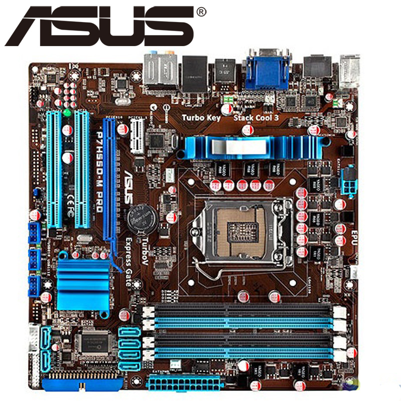 Asus P7H55D-M PRO Desktop Motherboard H55 Socket LGA 1156 i3 i5 i7 DDR3 16G ATX UEFI BIOS Original Used Mainboard Hot Sale msi original zh77a g43 motherboard ddr3 lga 1155 for i3 i5 i7 cpu 32gb usb3 0 sata3 h77 motherboard
