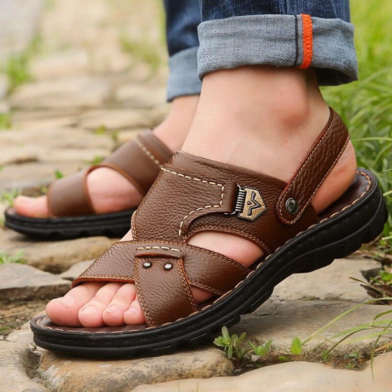 Leather sandals for men casual mature men shoe massage non-slip outdoor sandals breathable summer flip-flops mens