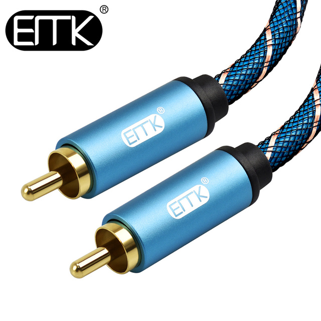 EMK enceinte Hifi câble RCA vers RCA câble Coaxial mâle vers mâle 1m 2m 1.5m 3m câble RCA stéréo pour amplificateur câble Subwoofer