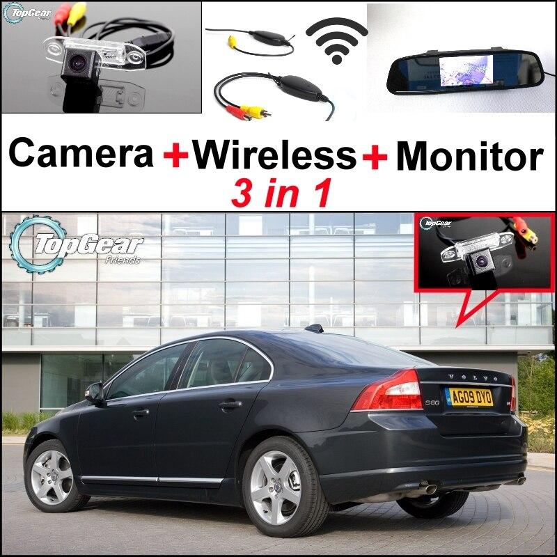 3 in1 vue arrière spéciale Wifi caméra + récepteur sans fil + miroir moniteur facile bricolage système de stationnement pour Volvo S80 S80L