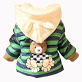New Baby Girls Jacket Cartoon Bear Panda Baby Keeping Warm Cotton Hooded Winter Girls Coat Casual Children Outwear Kids Clothing