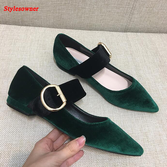 Stylesowner Pointed Toe Velvet Leather Women Flats 2017 Fashion Casual Shoes Woman Leisure Flat Shoe Summer Belt Loafers new spring summer women flats brand casual women shoes flat heels pu fashion crystal shoe pointed toe soft soles